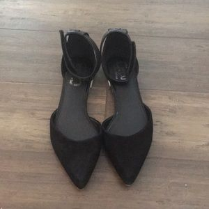 Pointed toe black d'orsay flats with ankle strap